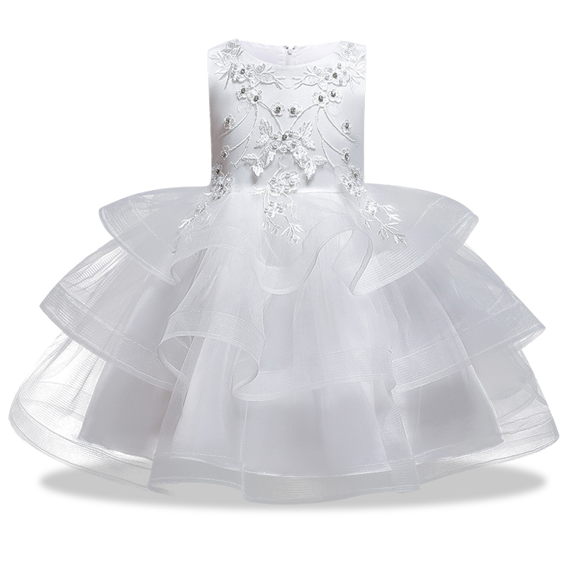 Вечерние платья с вышивкой для девочек; свадебные вечерние платья для девочек с цветами и бусинами; Детский карнавальный костюм Pengpeng - Цвет: white