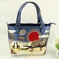 Satchel Handbag female leopard print handmade art messenger bag