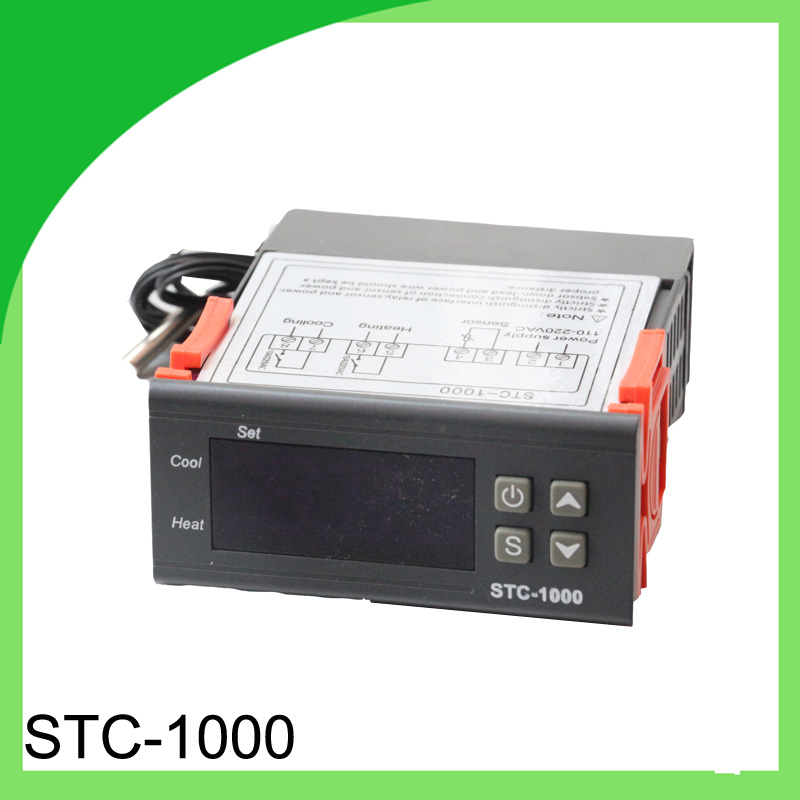 Two Relay Output LED Digital Temperature Controller Thermostat Incubator STC-1000 110V 220V 10A with Heater and Cooler digital stc 1000 220v all purpose temperature controller thermostat with sensor