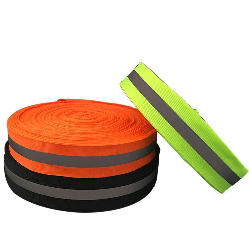 50 Meter,3cm*1cm Width,Fluorescent Reflective Fabric Ribbon Webbing Reflection Strip Edging Braid Sewing On Garment Accessories