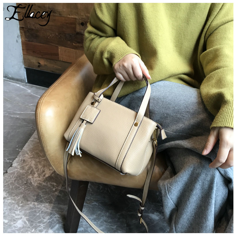 Tassel Bags for Women 2018 Ladies' Genuine Leather Handbag Fashion Cow Leather Shoulder Bag Luxury Handbags Women Bags Designer zooler women handbag elegant ol shoulder bag ladies cow leather handbags fashion corssbody bags designer genuine leather handbag