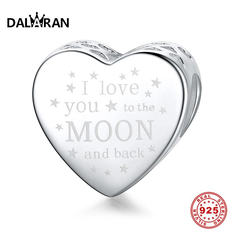 DALARAN Letter Silver Charms 925 Sterling Silver Loving Alphabet Beads Fit Charm DIY Bracelet Necklace For Women Jewelry Gift