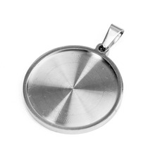 Stainless Steel Cabochon Pendant Setting with Bail 25mm Flat Round Bezel Gem Blank Base Jewelry Making DIY Necklace Components