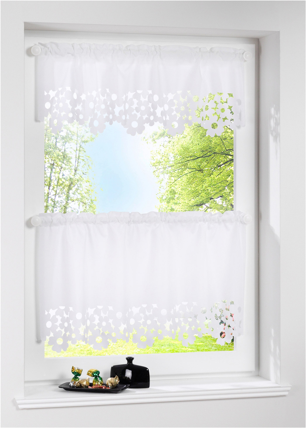 1 PC Hollow Out Flower Short Kitchen Curtain Silk Like Laser Cutting Cafe Curtains Window Blinds Drapes