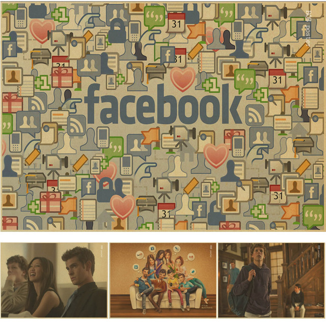 The facebook media and network Vintage Kraft Paper Poster Wall Art ...