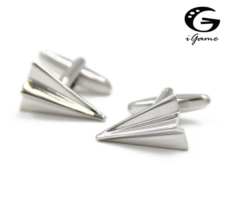 IGame 1 Pair Fashion Cuff Links Silver Color Novelty Brass Paper Airplanes Design