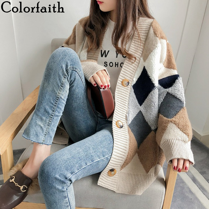 Colorfaith Women's Sweaters Cardigans Puff-Sleeve Plaid v-Neck Loose Autumn Casual Fashionable title=