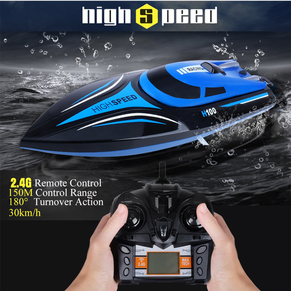 30km/h High Speed RC Blue Boat H100 2.4GHz 4 Channel Racing Remote Control Boat With LCD Screen As Gift For Kids Gift lcll rc boat radio remote control twin motor high speed boat rc racing toy gift for kids eu plug