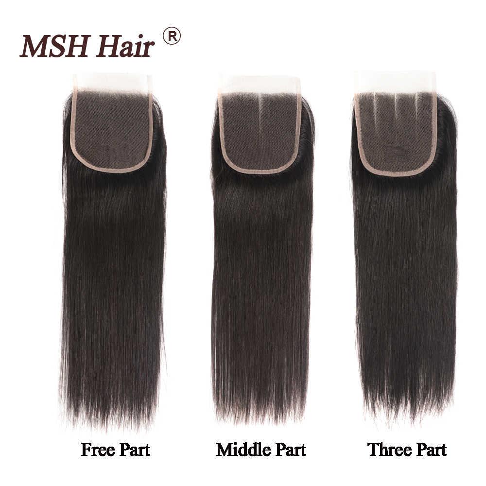 MSH Haar Brasilianische Gerade Menschliche Haarwebart Bundles Mit 4*4 Spitze Verschluss 130% Dichte Nicht-Remy Haar medium Verhältnis