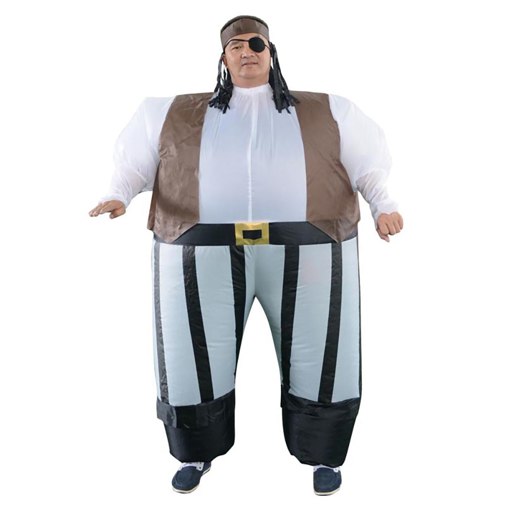 Inflatable Pirate Captain Fancy Dress Costume Fat Sumo Suit Blow Up Adult Pirate  Cosplay Halloween Costumes