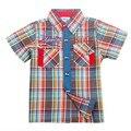 2016 Nova Primavera Outono Meninos Crianças Blusas Crianças Camisas de Manga curta Camisas Dos Miúdos Meninos Camisas azul vermelho browm frete grátis