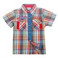 2016 Nueva Primavera Otoño Niños de Los Niños Camisas de los Muchachos de La Manga corta Blusas Camisas de Los Muchachos de azul rojo browm envío gratis