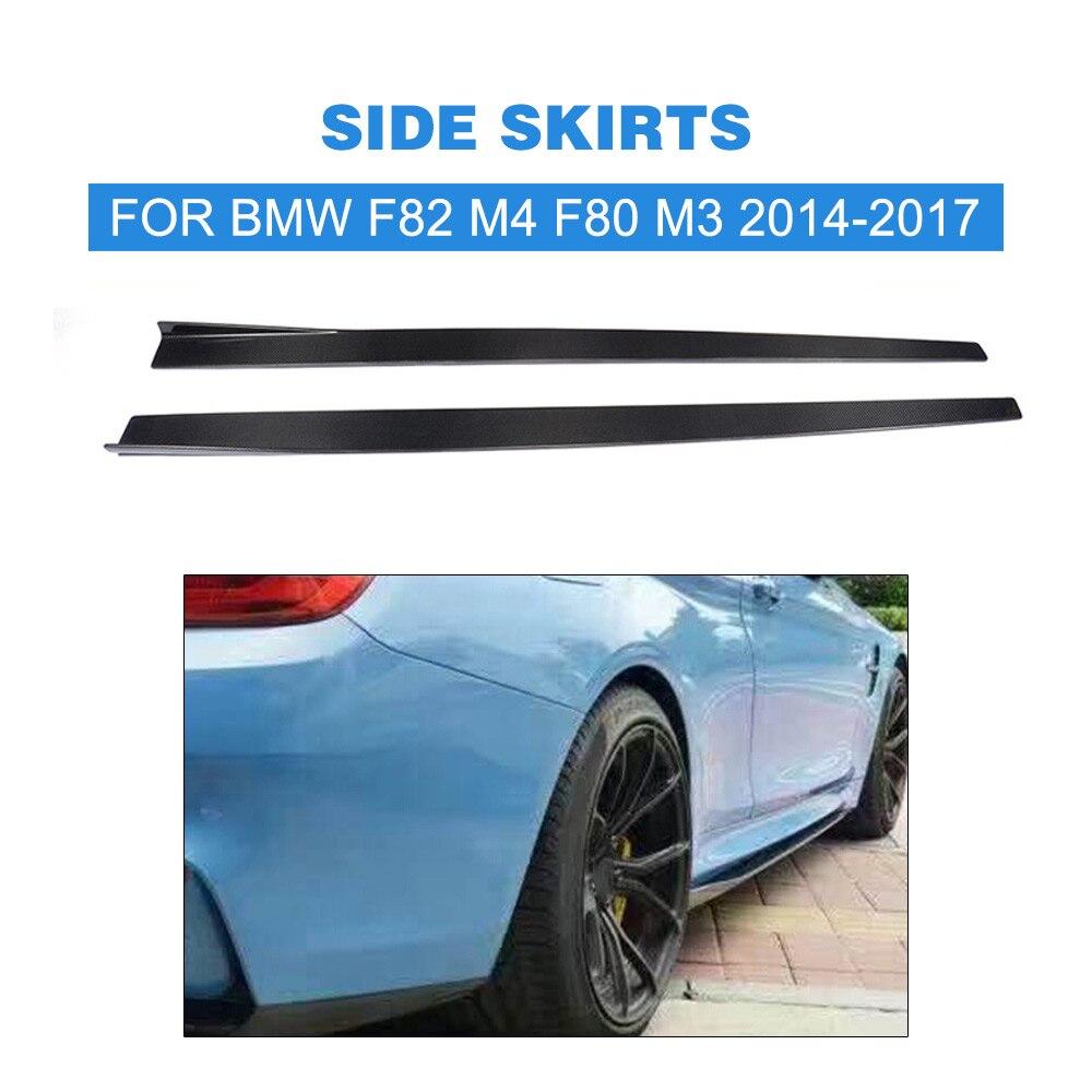 2pcs/set Carbon Fiber Side Skirts Extension Lip Aprons for BMW F82 M4 Coupe F80 M3 Sedan 2014-2017 Car Styling