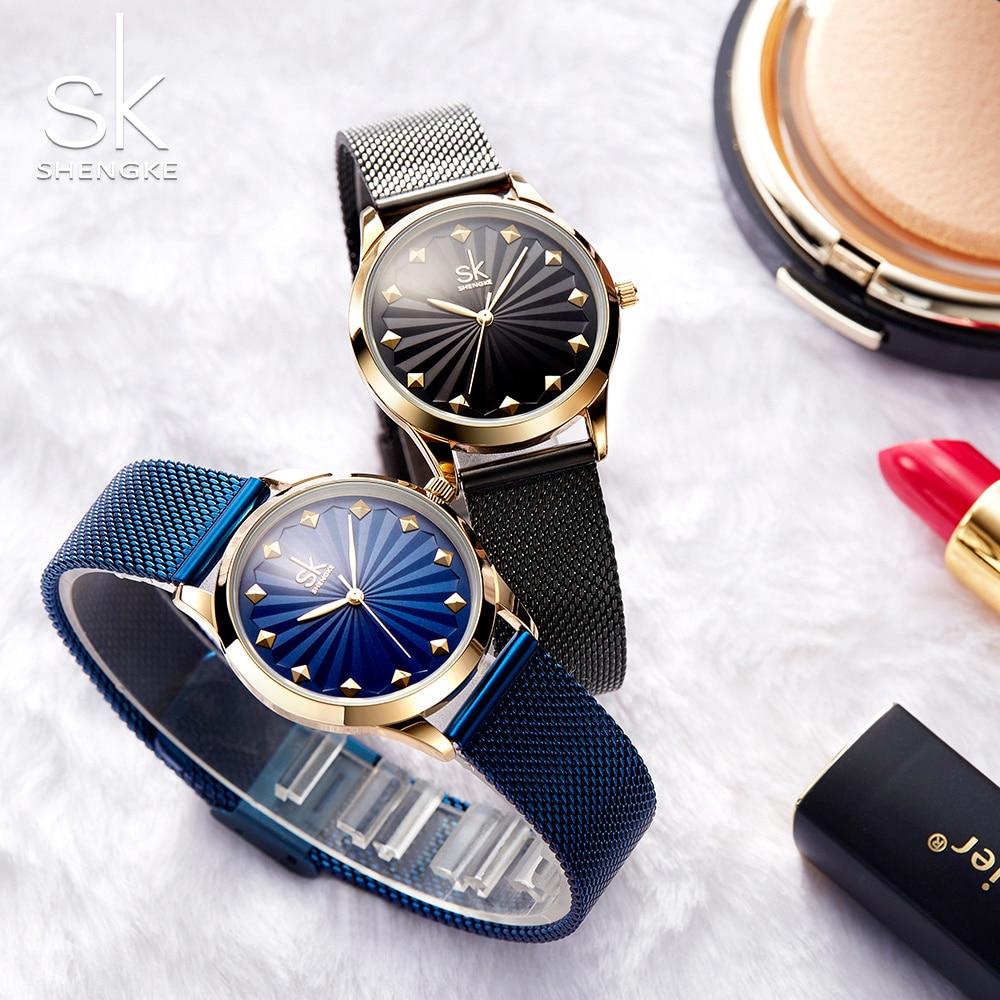 Shengke Top Quality Luxury Fashion Wristwatches Women Watch New Quartz Ladies Gift Milan Mesh Band Lady Watch Relogio Feminino