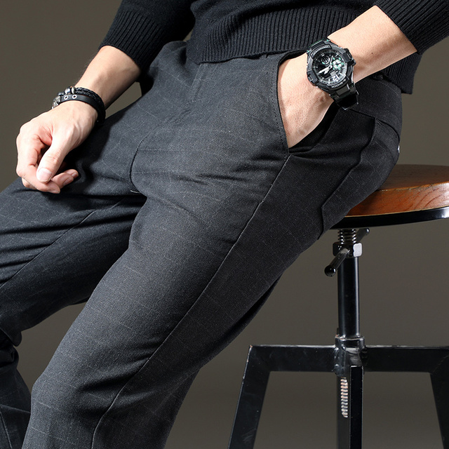 Pants Men Casual Elastic Trousers Male Cotton plaid straight Large big size 28-38 5