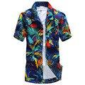 Новое Прибытие Мужчины Мода Гавайи Печати Короткий Рукав Рубашки Мужчин Случайные Свободные отложным Рубашки Пляж Лето Brand Clothing MCS002-1