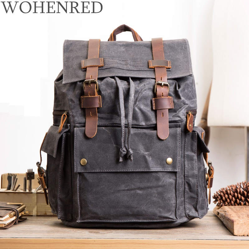 New Men Oil Wax Canvas Leather Backpack Vintaghe 15.6 Inch Laptop Backpack Male School Bag Large Capacity Waterproof Travel BagNew Men Oil Wax Canvas Leather Backpack Vintaghe 15.6 Inch Laptop Backpack Male School Bag Large Capacity Waterproof Travel Bag