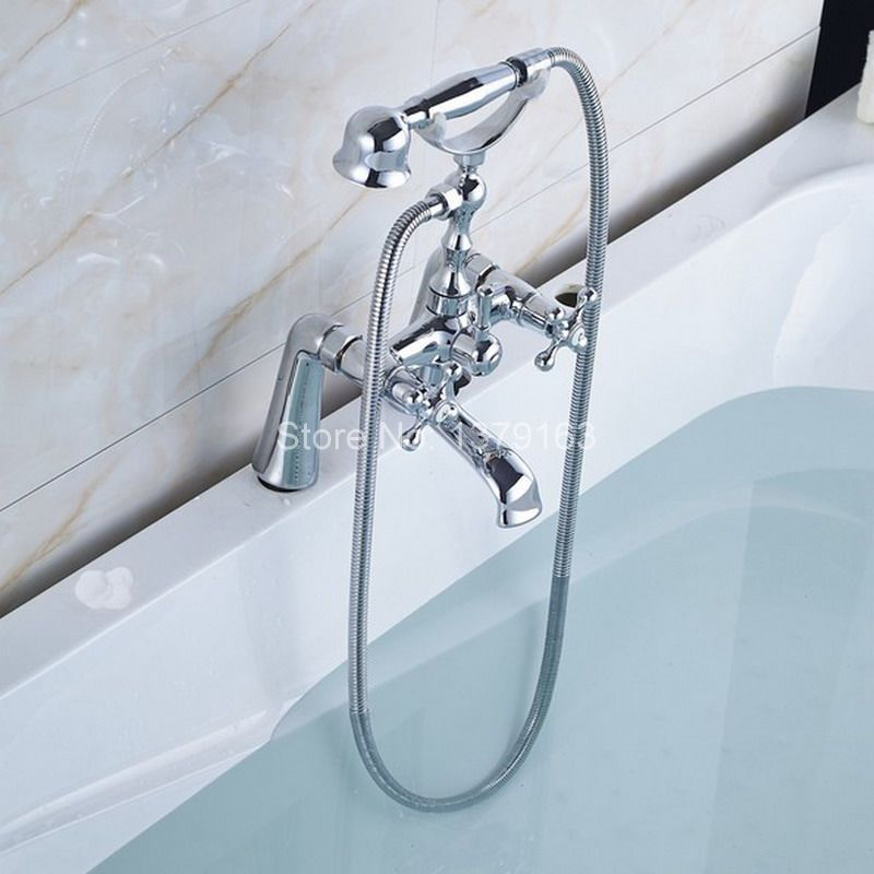 Polished Chrome Brass Double Cross Handles Deck Mounted Bathroom ...