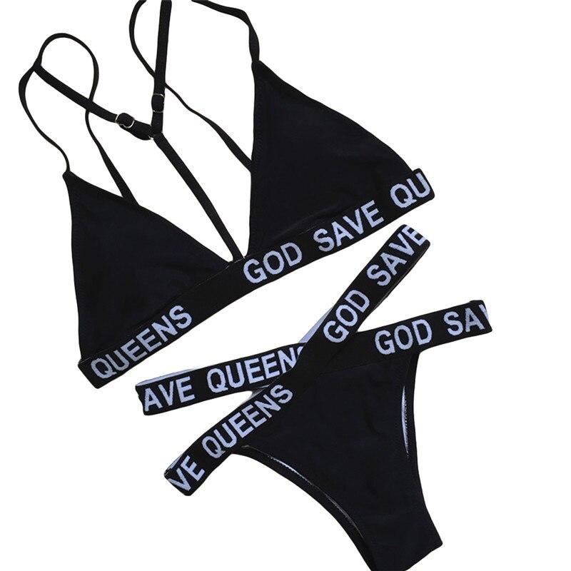 HTB1c7wYSXXXXXbmXFXXq6xXFXXXC - Kylie Jenner Black God Save Queens Swimsuit Letters Bandage Cross Triangle Bikinis Set Swimwear PTC 243