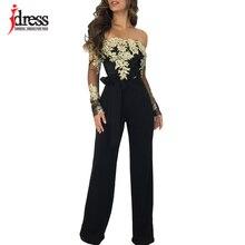 Bodysuit Elegant Rompers Women Spring Lace Long-Sleeve Slash-Neck Idress Black Sexy Sashes