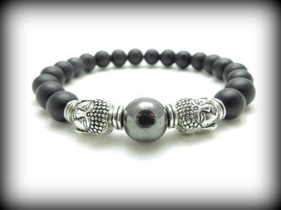 Buddha Mala Bracelet Men S Strength Black Onyx Wrist Mala Yoga