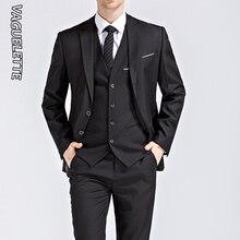 (Blazer+Vest+Pants) 3 Pieces Business Suit Men Formal Wear Slim Fit Wedding Suit For Men Blue/Black/White Elegant Suit Men M-5XL