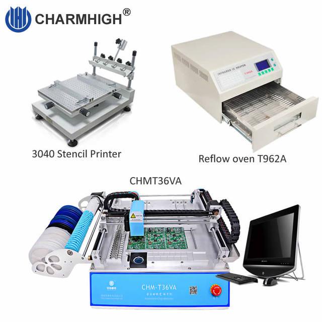 SMT Production line: CHM T36VA Vision Pick and Place Machine chmt36va + 3040 Stencil Printer + Reflow Oven T962A