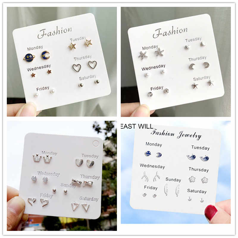 2019 New Hot Sell Small Stud Earrings Set For Women Girl Cute Stud Earrings Set Personality Party Jewelry Fashion Brincos