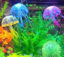 5.5 CM Glowing Effect Artificial Jellyfish Fish Tank Aquarium Aquario Decoration Quality Silicon Jelly Tanks Small Ornament