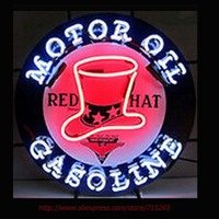 Red Hat Gasoline Motor Oil NEON SIGN Handcrafted Recreation Room Window Neon Bulbs Garage Sign Art