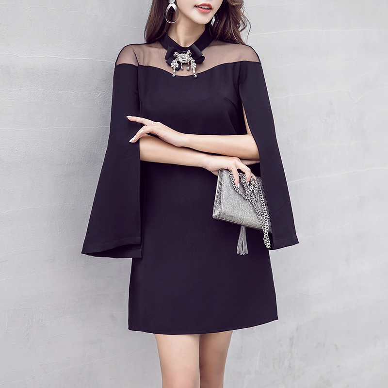 black cloak sexy party dress new woman sexy lady clothes new fashion design outfit vestidos mesh cape dresses mini outfit girl