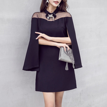 black cloak sexy party dress new woman lady clothes fashion design outfit vestidos mesh cape dresses mini girl