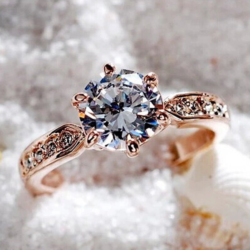 Engagement Rings Jewelry Zircon Crystals Austrian Top-Quality Rose-Gold-Color Female