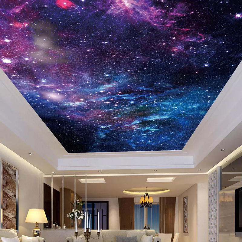 Custom Wallpaper Ceiling Stickers Mural 3D Beautiful Starry Sky Living Room Bedroom Zenith Ceiling Decoration Wall Painting Art