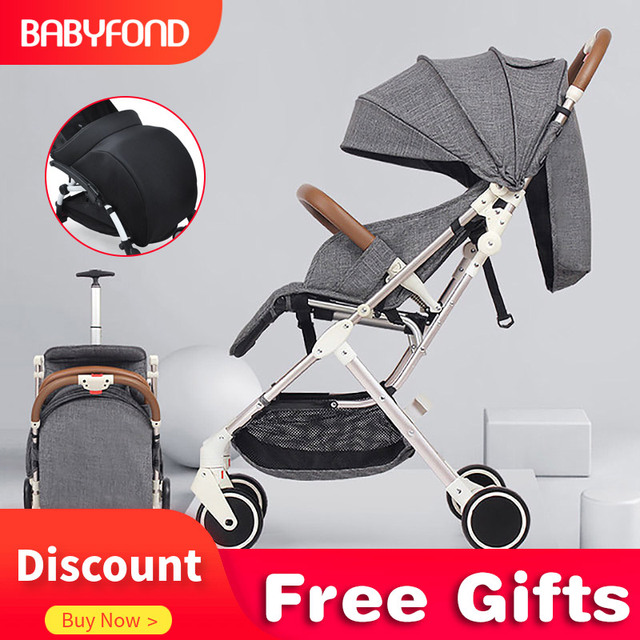 RU free shipping! Baby stroller  portable can sit reclining ultra light high landscape folding stroller with leg cover travel