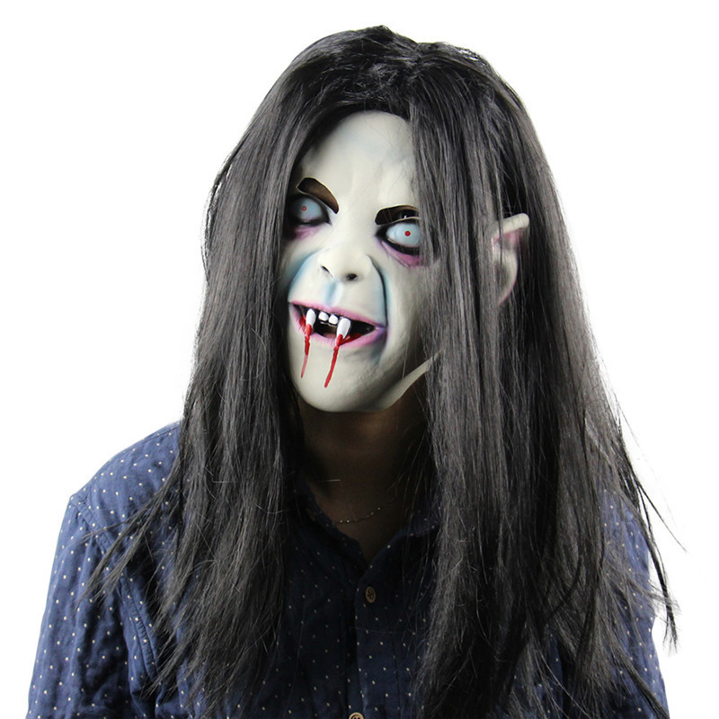 with long hair horror vampire halloween mask scary woman headwear halloween party decorations halloween party supplies - Scary Vampire Halloween Costumes