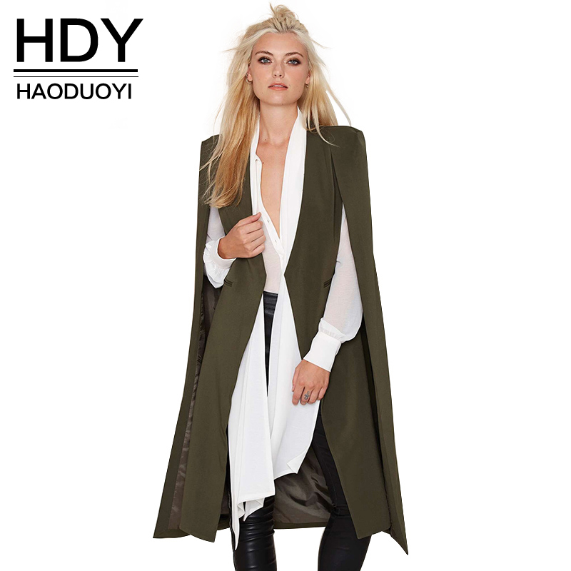 HDY Haoduoyi 2018 Kvinnor Casual Open Front Windbreaker Klopp Split Lätt Trench Coat Longline Cape Party Fasion Blazer