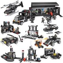 8 IN 1 City Multi-function Pobile Truck Building Blocks SWAT Car Aircraft Sets Model Bricks Figures Educational Toys цены онлайн