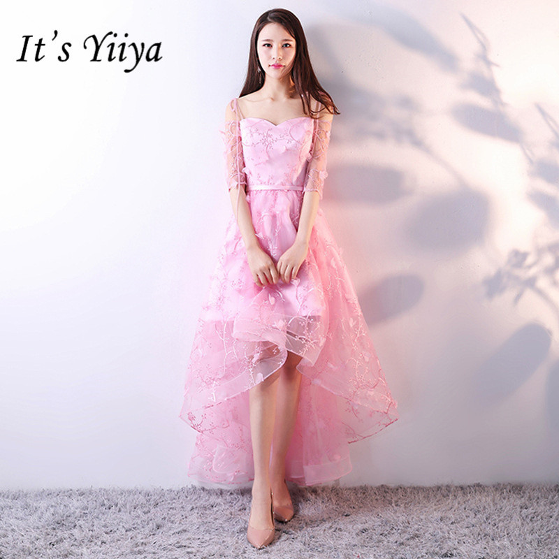 It's YiiYa Fashion Boat Neck   Cocktail     Dress   Sweet Pink Half Sleeve Formal   Dress   Party Gown H082