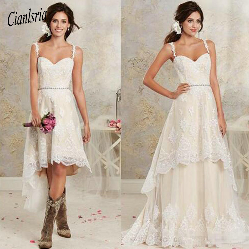 2020 Sexy Two Pieces Wedding Dresses Spaghetti Lace A Line Bridal Gowns With Hi-Lo Short Detachable Skirt Country Wedding Gowns