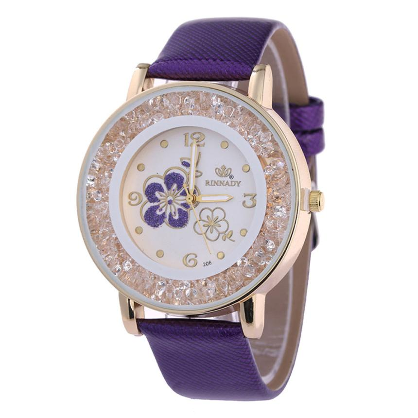 Watches Woman Rhinestone Rose Pattern Quartz Wristwatches Luxury Leather Bracelet Simple Relogio Feminino Watch 18MAR28