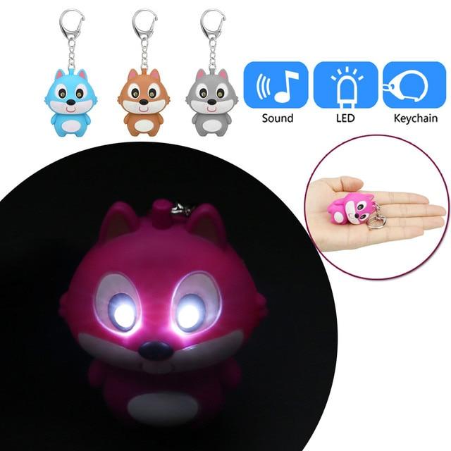 Bonito Dos Desenhos Animados do Esquilo Chaveiro Com Luz LED Som Keyfob Presente Toy Kids