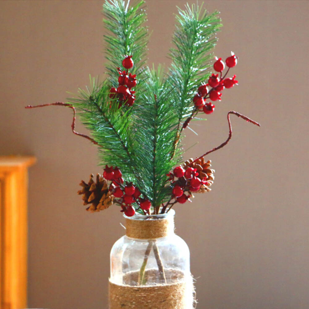 Red Red Pine Christmas Tree: 45cm Artificial Christmas Pine Tree Red Berries Simulation