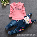 Spring 2016's new children Suit Girls Two Piece Baby cowboy suspenders children's clothing