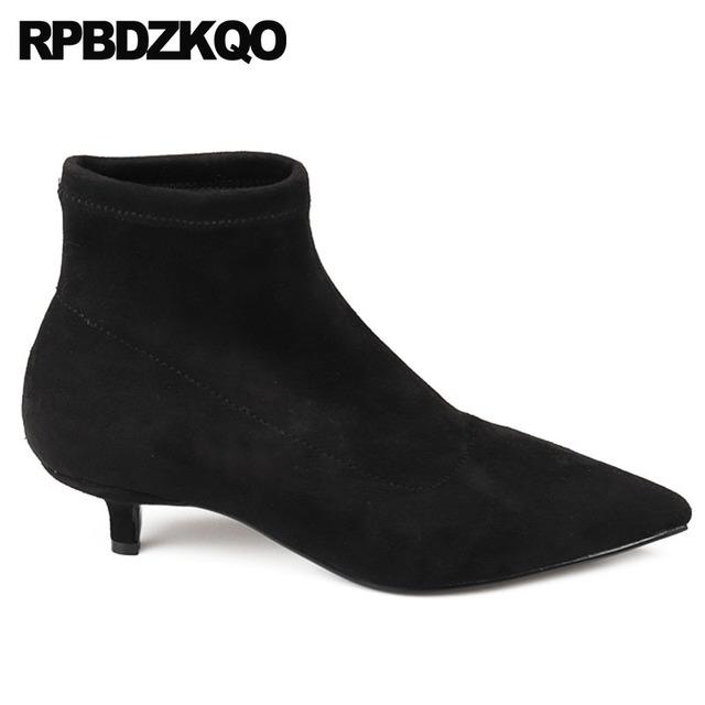 designer short pointed toe slip on winter low heel fur boots black leopard print stiletto luxury brand shoes women suede ankle