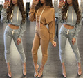 2016 New design top full sleeve long rompers overalls for women sweat suit