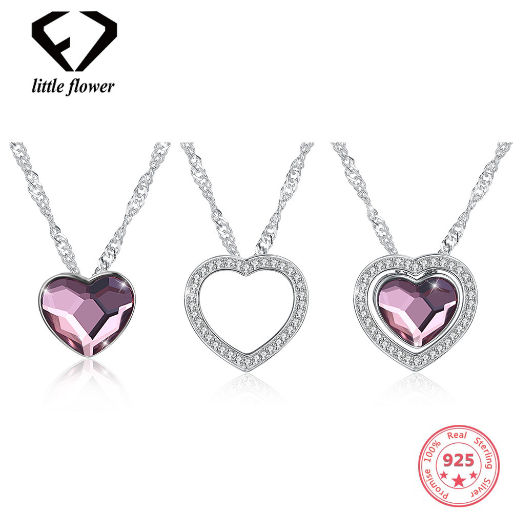 Austria Element Crystal Water Wave Chain Womens Necklace European Fashion Sterling Silver 925 Love Heart Shaped Pendant JewelryAustria Element Crystal Water Wave Chain Womens Necklace European Fashion Sterling Silver 925 Love Heart Shaped Pendant Jewelry