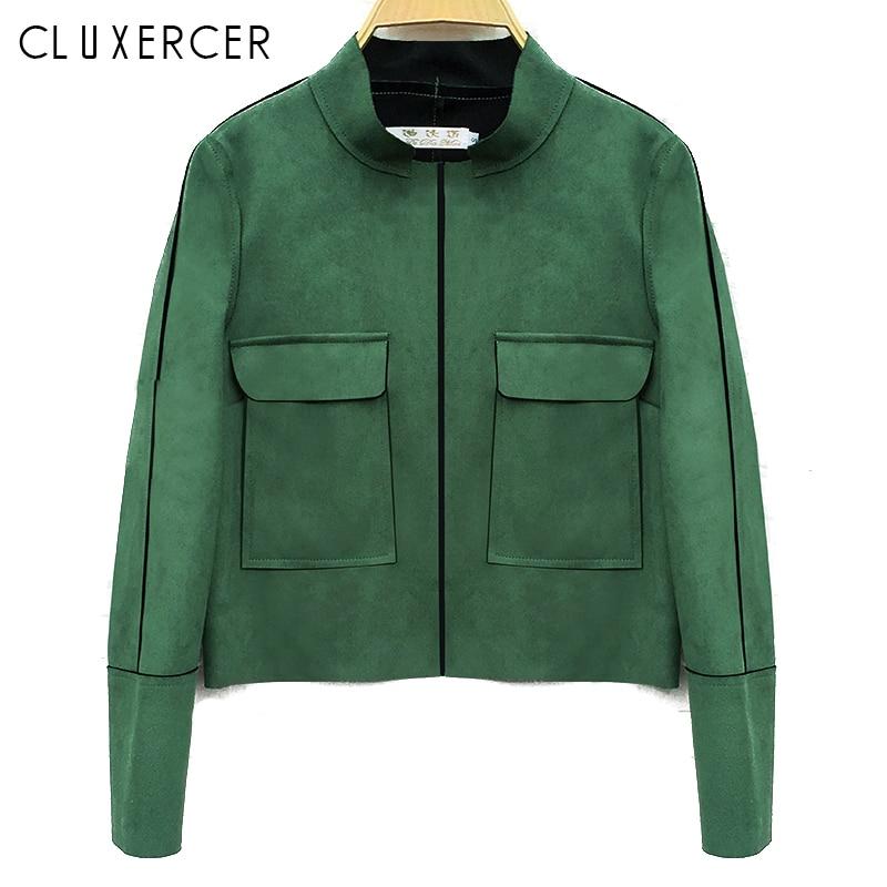 Women Faux   Suede   Spring Autumn Women Jacket 2018 Vintage Slim Plus Size   Leather     Suede   Jacket Lady Coat Crop Top