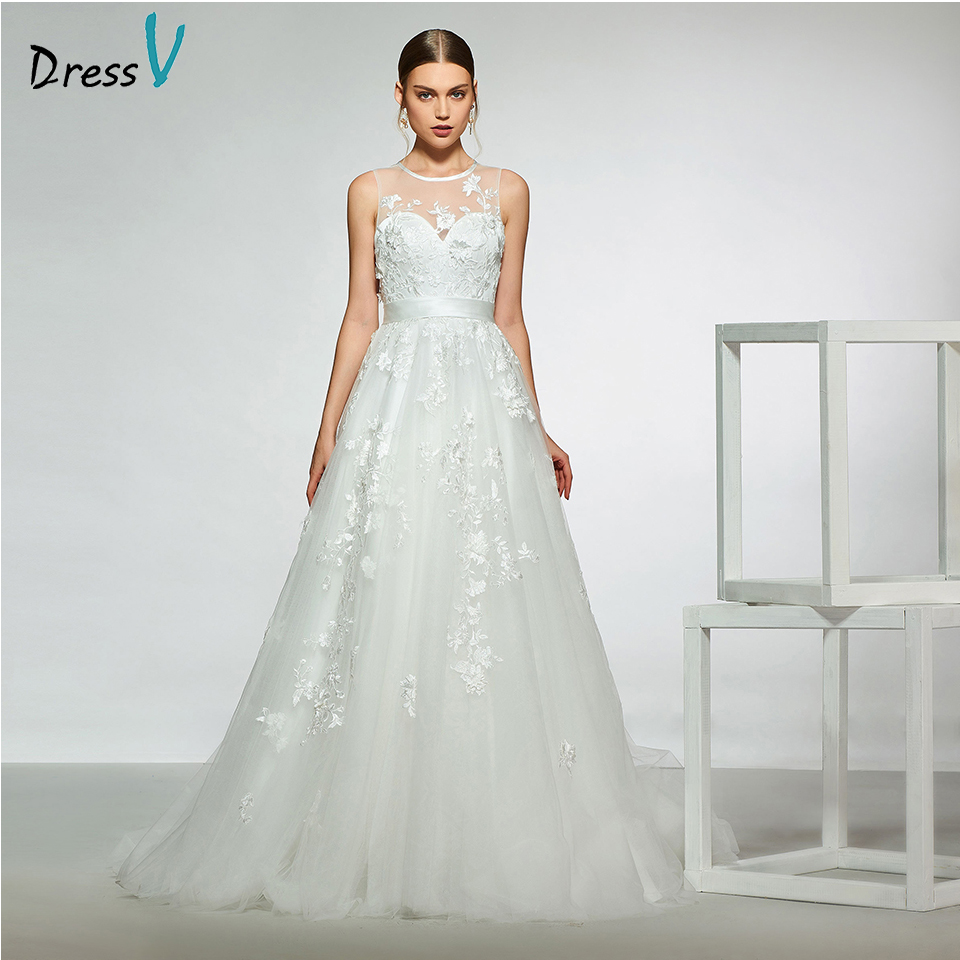 Dressv elegant sample scoop neck appliques a line wedding dress sleeveless floor length simple bridal gowns wedding dress