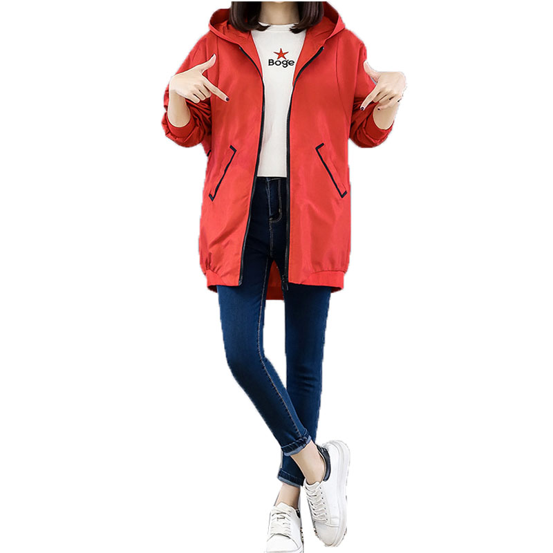 Women Spring Autumn Coat Korean Fashion Mid-length Loose Windbreaker   Basic     Jacket   Female Casual Baseball Outwear Plus Size S-3XL